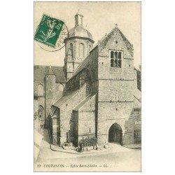 carte postale ancienne 50 COUTANCES. Eglise Saint-Nicolas 1912