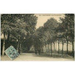 carte postale ancienne 50 COUTANCES. Les Promenades 1907. Carte Photo émaillographie (défaut)