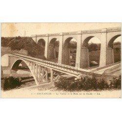 carte postale ancienne 50 COUTANCES. Viaduc et Pont sur la Soulles 1932