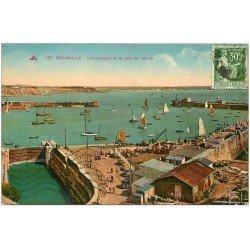 carte postale ancienne 50 GRANVILLE. Avant-port et Cale de Radoub 1937