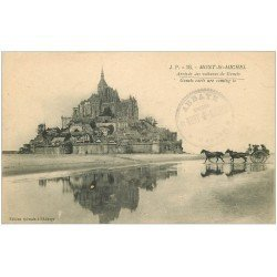 carte postale ancienne 50 LE MONT SAINT-MICHEL. Transports arrivée des voitures de Genets 18