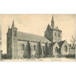 carte postale ancienne 50 PONTORSON. Eglise Notre-Dame 1916 animation