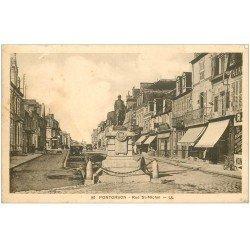 carte postale ancienne 50 PONTORSON. Rue Saint-Michel Café de la Poste