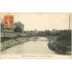 carte postale ancienne 50 PONTORSON. Vue sur le Couësnon 1918
