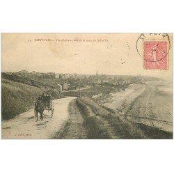 carte postale ancienne 50 SAINT-PAIR-SUR-MER. Attelage Route de Granville 1906