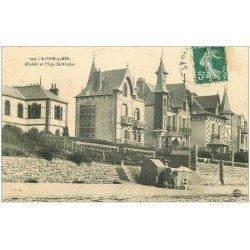 carte postale ancienne 50 SAINT-PAIR-SUR-MER. Chalets et Plage Saint-Nicolas 1909