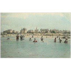 carte postale ancienne 50 SAINT-PAIR-SUR-MER. Le Bain colorisé