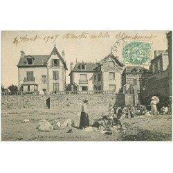 carte postale ancienne 50 SAINT-PAIR-SUR-MER. Le Coin des Laveuses 1907