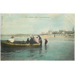 carte postale ancienne 50 SAINT-PAIR-SUR-MER. Partie de Canotage colorisé