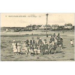 carte postale ancienne 50 SAINT-PAIR-SUR-MER. Sur la Plage et sur Barque 5