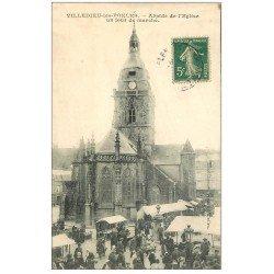 carte postale ancienne 50 VILLEDIEU-LES-PEOLES. Jour de Marché vers 1910