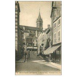 carte postale ancienne 52 BOURBONNE-LES-BAINS. Café et Rue des Bains 1919