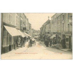 carte postale ancienne 52 BOURBONNE-LES-BAINS. La Grande Rue animée