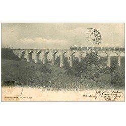 carte postale ancienne 52 CHALINDREY. Le Viaduc de Torcenay 1904 avec Train