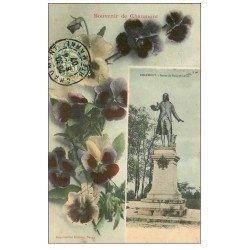 carte postale ancienne 52 CHAUMONT. Statue de Lebon 1907 et Fleurs Pensées