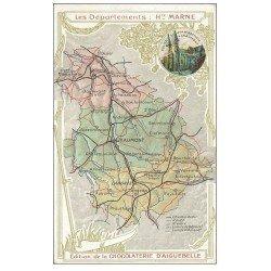 carte postale ancienne 52 Les Départements de la Marne. Carte notice Edition Chocolaterie d'Aiguebelle
