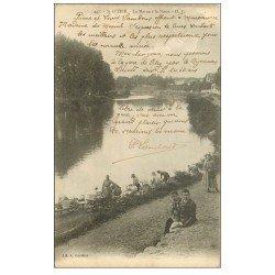 carte postale ancienne 52 SAINT-DIZIER. La Marne à la Noue 1904 Lavandières