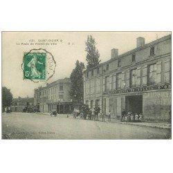 carte postale ancienne 52 SAINT-DIZIER. Place Hôtel de Ville 1916. Grand Hôtel du Soleil d'Or
