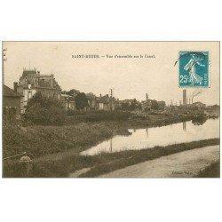 carte postale ancienne 52 SAINT-DIZIER. Vue sur le Canal avec péniches