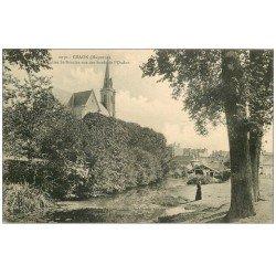 carte postale ancienne 53 CRAON. Eglise Saint-Nicolas et l'Oudon animation 1907