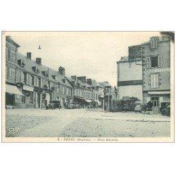 carte postale ancienne 53 ERNEE. Place Mazarin. Poste et voitures anciennes