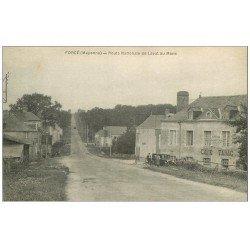 carte postale ancienne 53 FORCE. Route National de Laval au Mans. Café Tabac et Cycles Lebreton