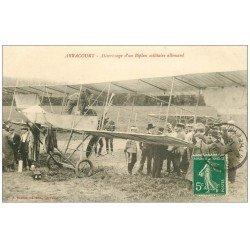 carte postale ancienne 54 ARRACOURT. Biplan militaire Allemand 1913. Avion Aéroplane et Pilote