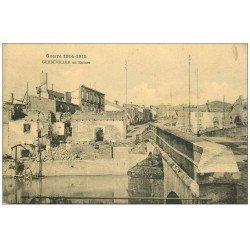 carte postale ancienne 54 GERBEVILLER. En Ruine et Pont 1914