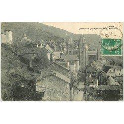 carte postale ancienne 12 CONQUES. Vue générale 1915
