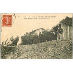 carte postale ancienne 12 CRANSAC. Hôtel des Voyageurs. Etuves naturelles du Frayne 1912