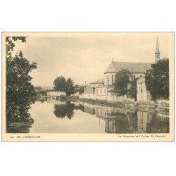 carte postale ancienne 54 LUNEVILLE. Vezouse et Eglise Saint-Léopold