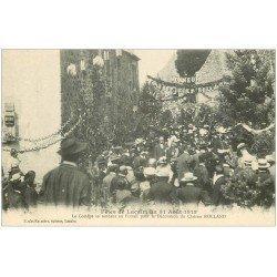 carte postale ancienne 12 Fêtes de LACALM. Cortège au Foiral pour Décoration du Clairon Rolland en 1913