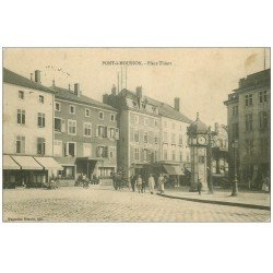carte postale ancienne 54 PONT-A-MOUSSON. Place Thiers 1914 Hôtel de la Poste