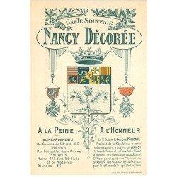 carte postale ancienne 54 NANCY. Carte Souvenir Nancy décorée à la Peine et à l'Honneur. Tampon Peerless 1920