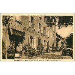 carte postale ancienne 12 LE ROZIER-PEYRELEAU. Grand Hôtel des Voyageurs. Garage pour voitures anciennes
