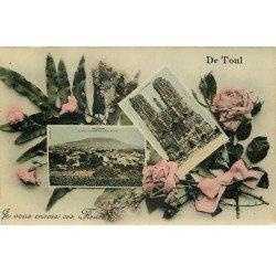 carte postale ancienne 54 TOUL. Double vue avec Fleurs 1907. Carte émaillographie tendance à se recroqueviller..0