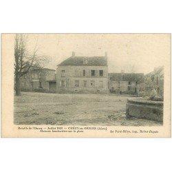 carte postale ancienne 02 CHEZY-EN-ORXOIS. Maison bombardée sur la Place. Bataille Ourcq. Enfants vers Fontaine