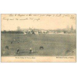 carte postale ancienne 55 CHARNY-MEUSE. Village et Vaches 1904