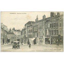 carte postale ancienne 55 COMMERCY. Rue Bas de la Place 1917. Voiture Tacot et Fabrique de Madeleines