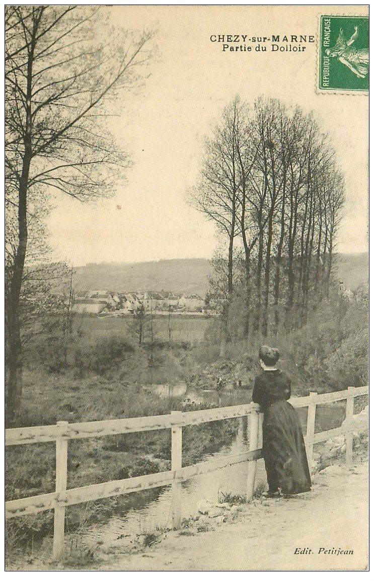 carte postale ancienne 02 CHEZY-SUR-MARNE. Partie du Dolloir 1913