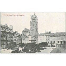 carte postale ancienne 12 RODEZ. Place de la Cité. Hôtel de France, Coiffeur et Bijouterie et Café