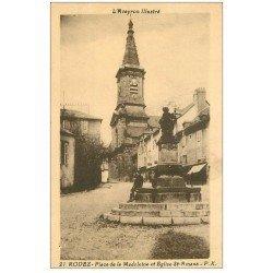 carte postale ancienne 12 RODEZ. Place de la Madeleine et Eglise Saint-Amans
