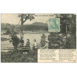 carte postale ancienne 57 Gruss vom Hanauer Weiher 1908