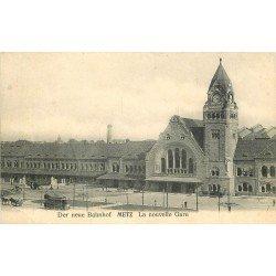 carte postale ancienne 57 METZ. La Gare Nouvelle der neue Bahnhof