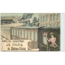 carte postale ancienne 58 CHATEAU-CHINON. La Gare montage avec Train 1907