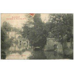 carte postale ancienne 58 CLAMECY. Femmes sur Bords du Beuvron 1908