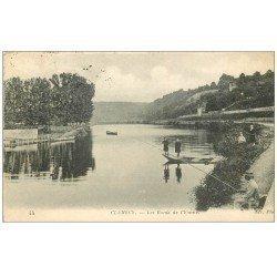 carte postale ancienne 58 CLAMECY. Pêcheur Bords de l'Yonne 1917
