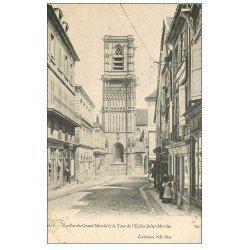 carte postale ancienne 58 CLAMECY. Rue du Grand Marché Tour Eglise Saint-Martin. Magasin Bonnieux