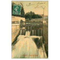 carte postale ancienne 58 COSNE-SUR-LOIRE. Chute du Nohain 1908 écluse