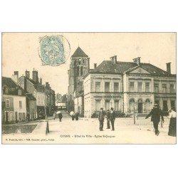 carte postale ancienne 58 COSNE-SUR-LOIRE. Hôtel de Ville Eglise Saint-Jacques 1905